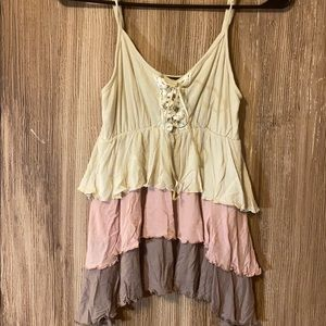 Tan pink brown boho gypsy layer tank top small